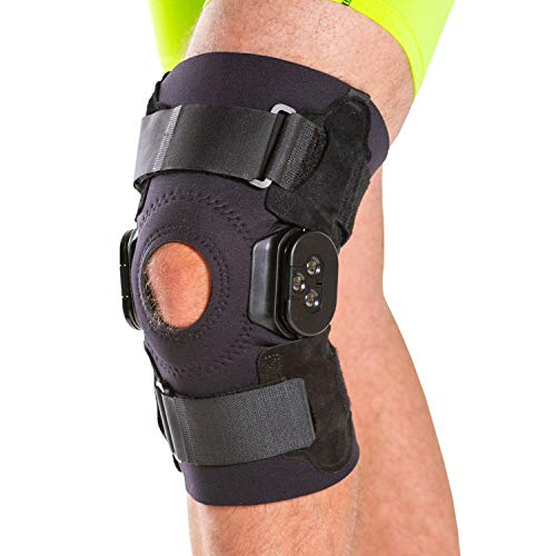 BraceAbility Torn Meniscus ROM Knee Brace | Hinged Post Surgery Support with Flexion / Extension Control for Hyperextension & Locking Treatment, Ligament (PCL / ACL) Tears, Osteoarthritis (L)