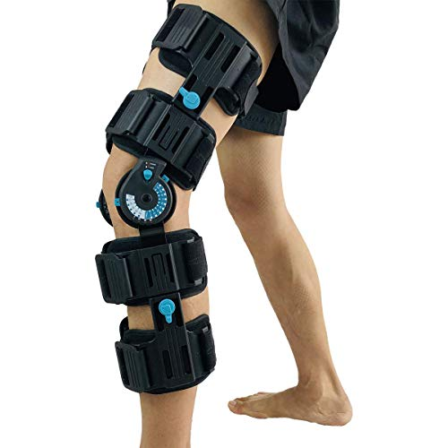 Orthomen Hinged Post Op Knee Brace, Adjustable ROM Leg Stabilizer Recovery Immobilization After Surgery - Medical Orthopedic Guard Protector Immobilizer Brace for Injury, Universal