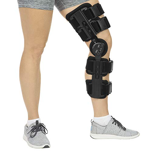 Vive ROM Knee Brace - Hinged Immobilizer for ACL, MCL and PCL Injury - Orthosis Stabilizer for Women and Men - Adjustable Recovery Support for Orthopedic Rehab, Post Op, Meniscus Tear, Right, Left Leg