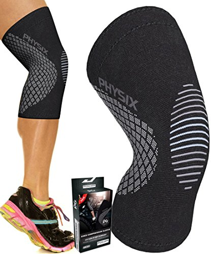 PHYSIX GEAR Knee Support Brace - Premium Recovery & Compression Sleeve for Meniscus Tear, ACL, MCL Running & Arthritis - Best Neoprene Stabilizer Wrap for Crossfit, Squats & Workouts (Single Grey M)