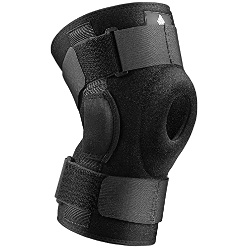 NEENCA Hinged Knee Brace, Adjustable Compression Knee Support Brace for Men & Women, Open Patella Knee Wrap for Knee Pain, Swollen,Meniscus Tear,ACL,PCL,MCL,Joint Pain Relief, Injury Recovery. ACE-56