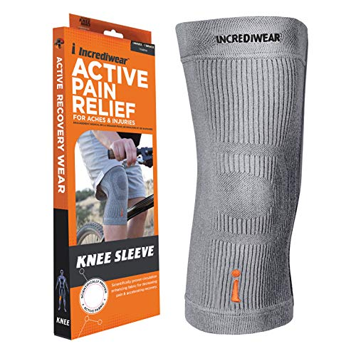 Incrediwear Knee Sleeve – Knee Brace for Joint Pain Relief & Swelling, Knee Support For Women and Men for Working Out, Running and Muscle Pain Relief, Fits 14'-16' Above Kneecap (Grey, Large)
