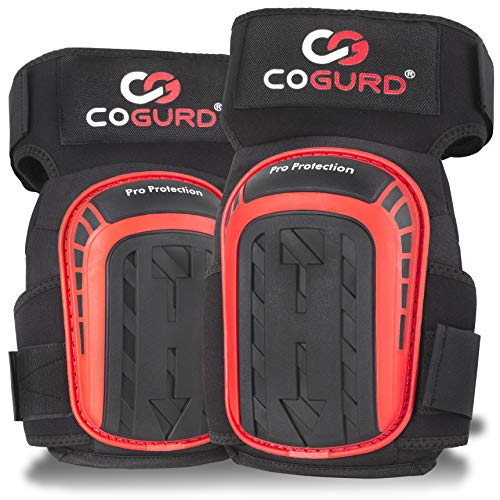 COGURD Professional Gel Knee Pads for Work Construction, Gardening, Cleaning, Flooring and Garage - Heavy Duty Support Kneepads with High Density Foam Padding Cushion and Strong Stretchable Straps